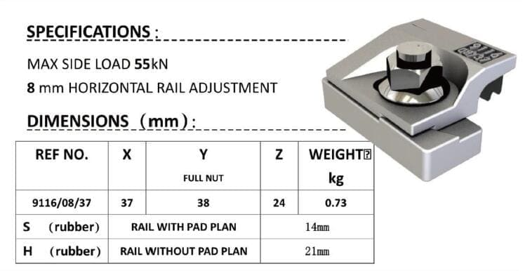 specification of 9116-rail-clamp