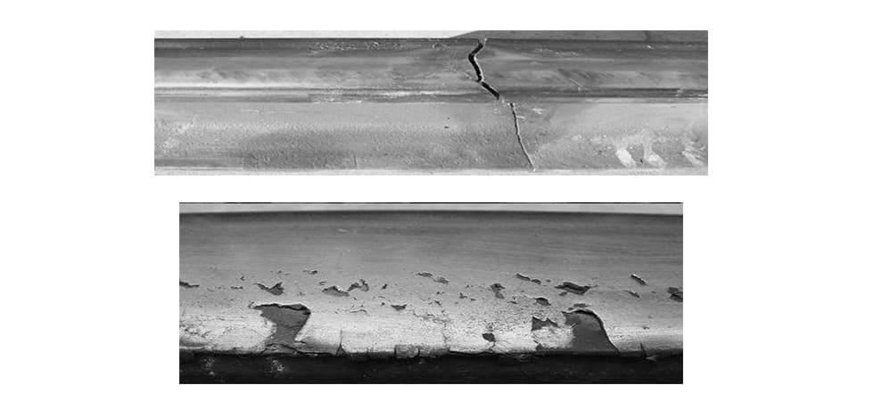 damaged railroad metal
