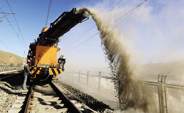 railroad track maintenance-ballast redistribute